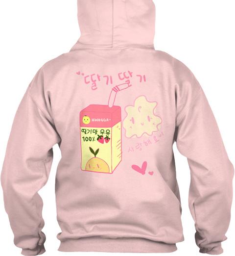 """""""딸기딸기"""" Strawberry Hoodie Light Pink T-Shirt Back"""