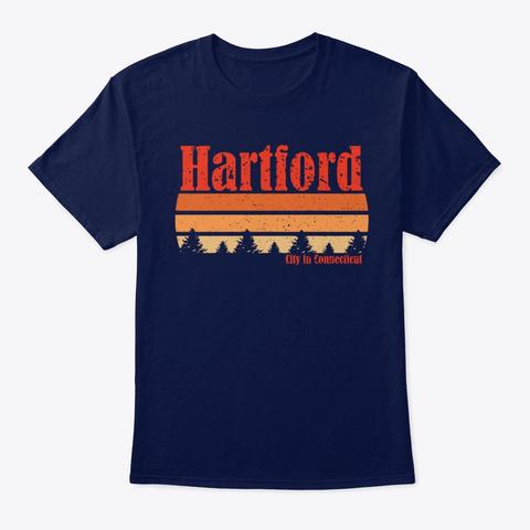 Retro Hartford Connecticut T Shirt Navy T-Shirt Front