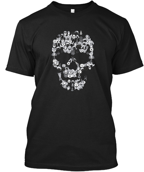 Dog Skull T Shirt Creepy Puppy Skeleton  Black T-Shirt Front