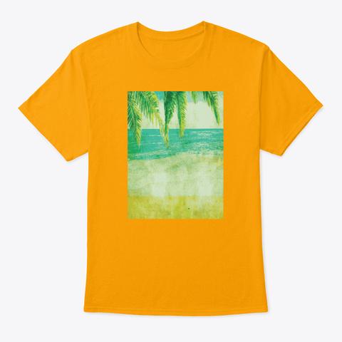 Vintage Beach Palm Trees Pop Art Gold T-Shirt Front