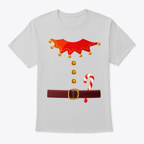 Funny Santa's Elf Costume Gift For Xmas Light Steel T-Shirt Front