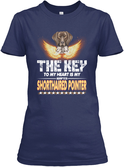 Shorthaired Pointer Key In My Heart Navy T-Shirt Front