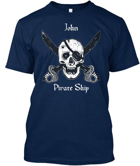 John's Pirate Ship Navy T-Shirt Front