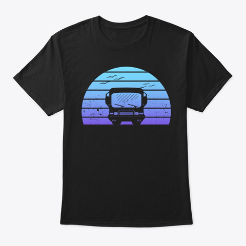 Classic Motorhome Silhouette At Sunset Black T-Shirt Front
