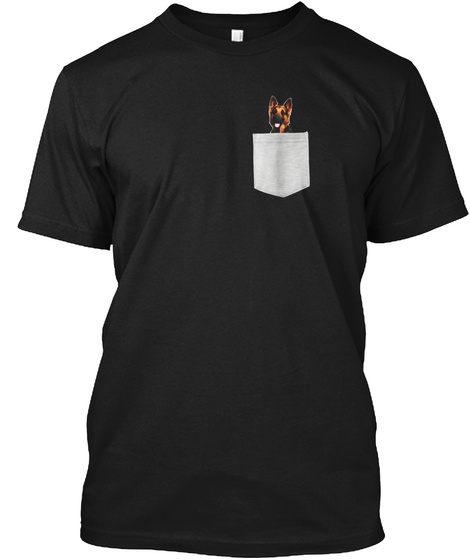 German Shepherd Dog In Your Pocket T Shi Black T-Shirt Front