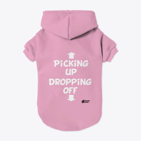 Doggy Oggy Picking Up Hoodie Light Pink T-Shirt Back
