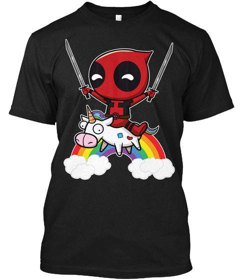 Riding A Unicorn Black T-Shirt Front