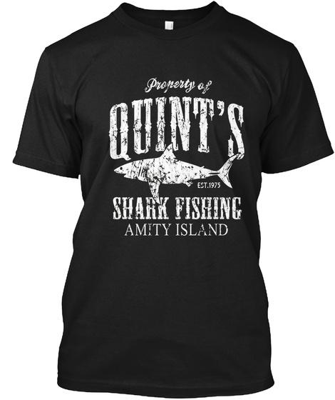 Quint's Shark Fishing Amity Island Black T-Shirt Front