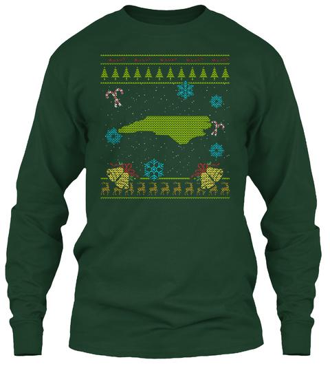 North Carolina Christmas Ugly Shirt Forest Green T-Shirt Front