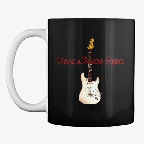 White Guitar On Mug Black T-Shirt Front