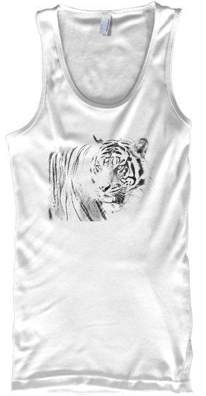 Men's White Tiger Summer Tank White Camiseta de Tirantes Front