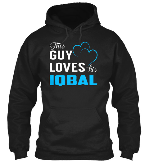 Guy Loves Iqbal   Name Shirts Black T-Shirt Front