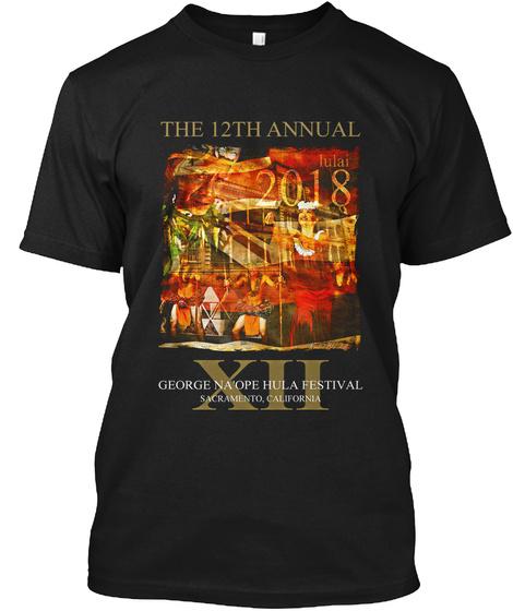 2018 George Na'ope Hula Festival Tee Black T-Shirt Front