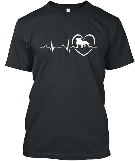 Staffy In My Heartbeat Black T-Shirt Front