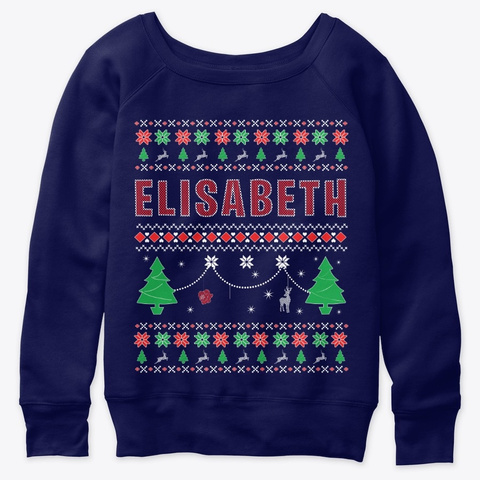 Xmas Themed Personalized For Elisabeth Navy  T-Shirt Front