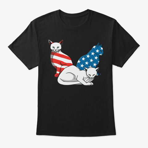 Patriotic 4th Of July Cat Lover Gift Black T-Shirt Front