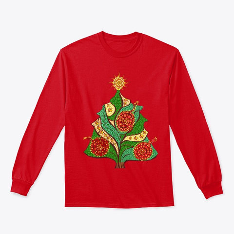 Zen Doodle Christmas Tree Red T-Shirt Front