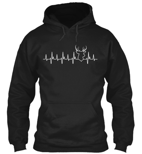 Deer Hunting Heartbeat Black T-Shirt Front