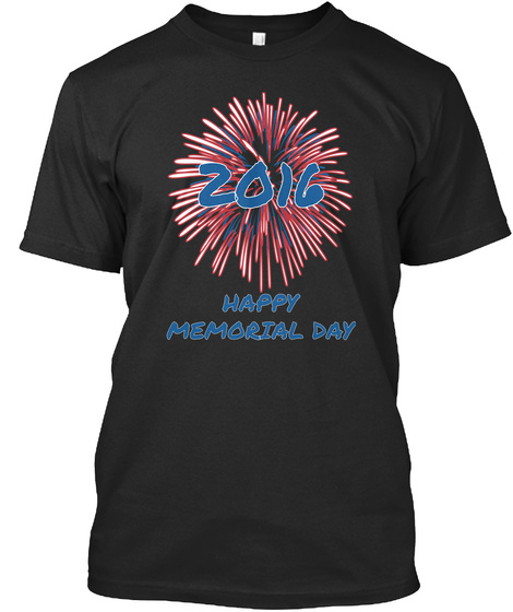 Zoic Happy Memorial Day Black T-Shirt Front