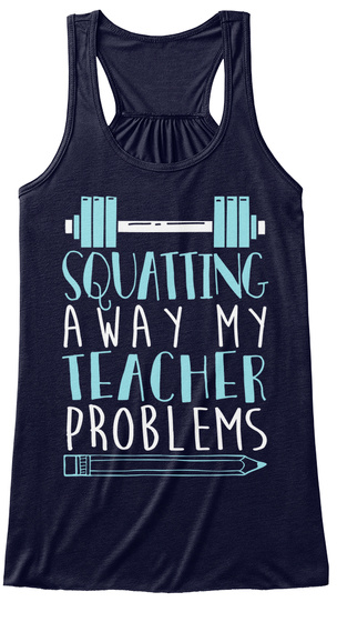 Squatting A Way My Teacher Problems Midnight Women's Tank Top Front