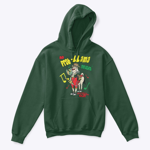 No Prob L Lama Mon Forest Green T-Shirt Front