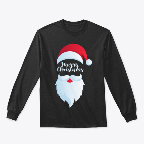 Merry Cristmas Tshirt Hipster Santa Black T-Shirt Front
