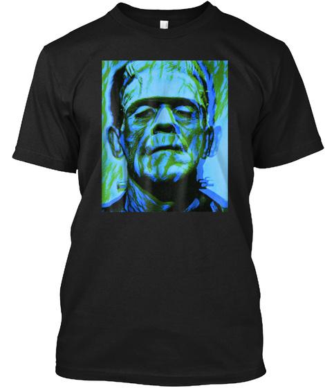 Frankenstein Rock Horror Art Green Class Black T-Shirt Front