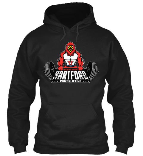 University Of Hartford Hartford  Powerlifting Black T-Shirt Front