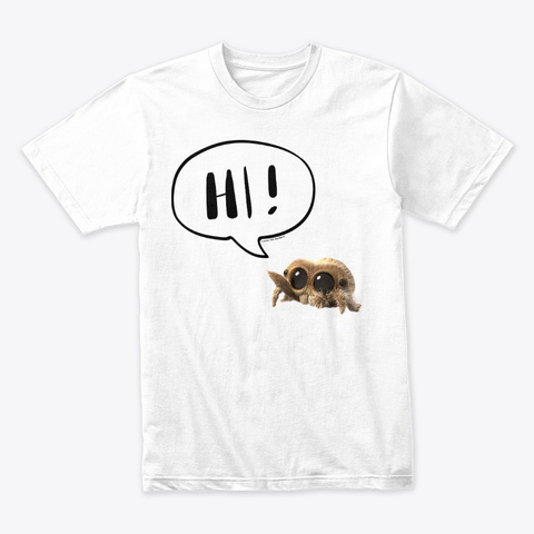 "Lucas The Spider ""Hi!"" (Black) White T-Shirt Front"