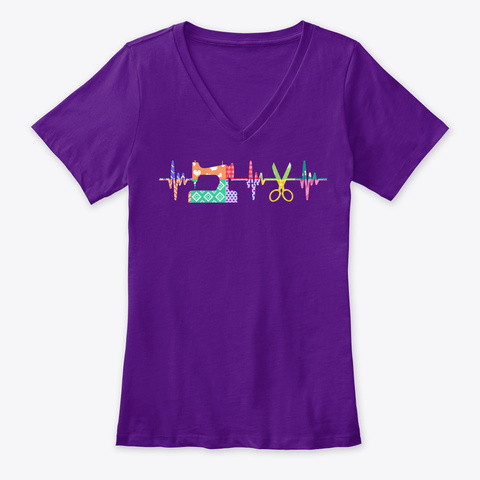 Womens Quilter Sewing Heartbeat For Team Purple  T-Shirt Front