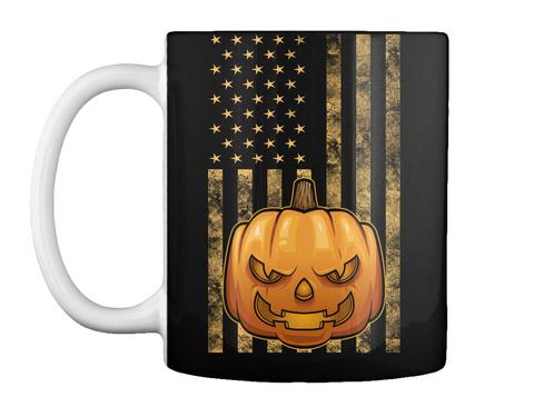Usa Flag Halloween Mug Black T-Shirt Front