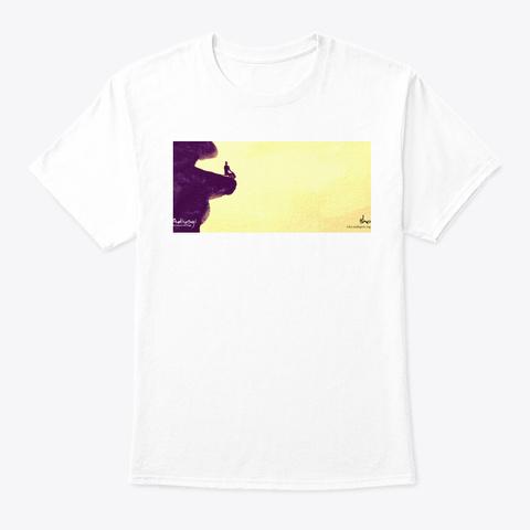 Yogi Meditating Among Hill White T-Shirt Front