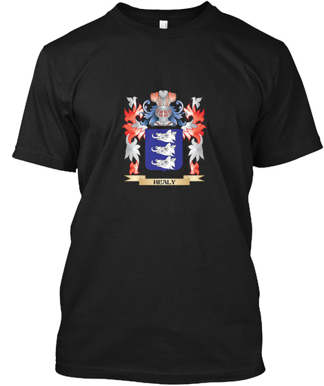 Healy Coat Of Arms   Family Crest Black T-Shirt Front