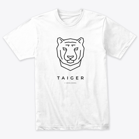 Taiger (Minimal Tiger) Heather White T-Shirt Front