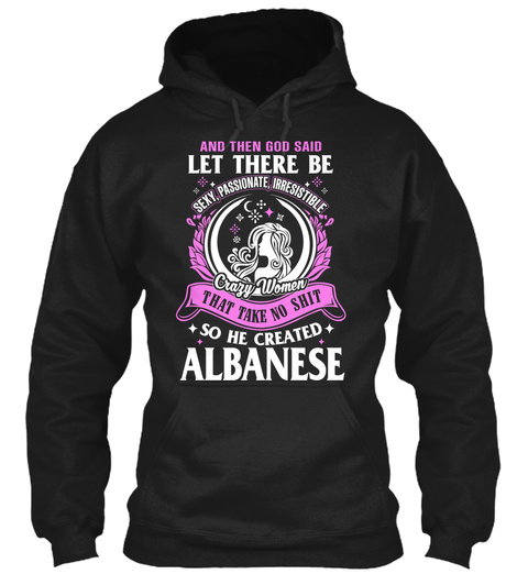 Let There Be Albanese  Black T-Shirt Front