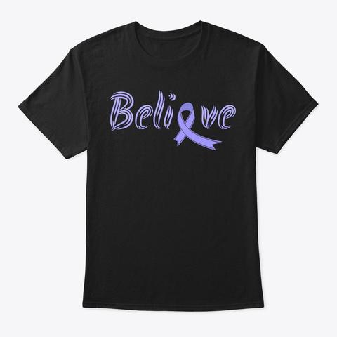 Believe, Esophageal Cancer Awareness Black T-Shirt Front