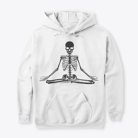 Meditating Skeleton Sticker White T-Shirt Front