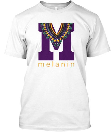 M Melanin White T-Shirt Front