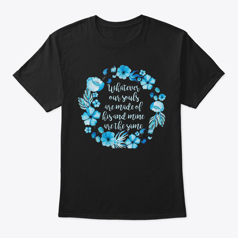 Blue Floral Heathcliff Black T-Shirt Front