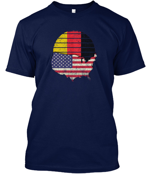 German American Flag Shirt Usa Germany Navy T-Shirt Front