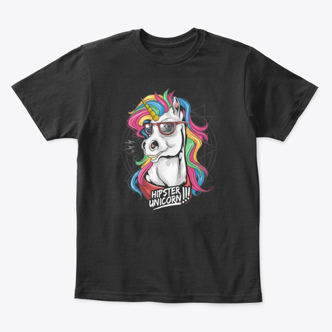 Unicorn Collection Black T-Shirt Front