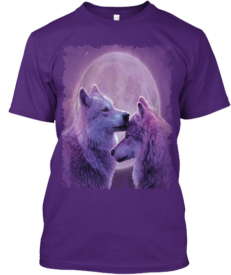 Wolf Couple Tee Purple T-Shirt Front
