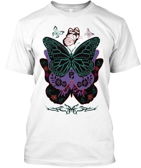 Butterflies White T-Shirt Front