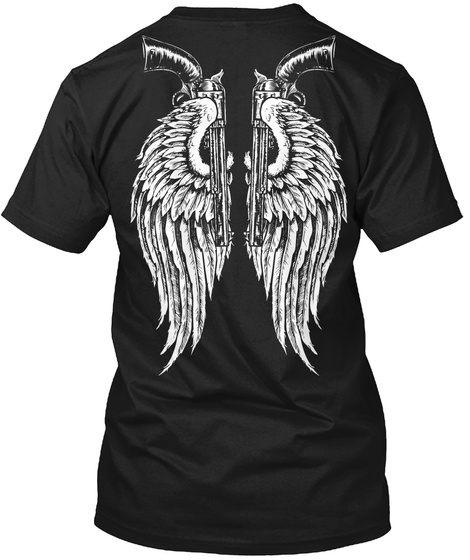 Angel Wings And Revolvers Black T-Shirt Back