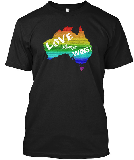 Lgbt Australia Shirts! Black T-Shirt Front
