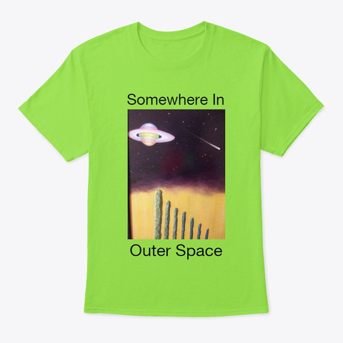 Somewhere In Outer Space Lime T-Shirt Front