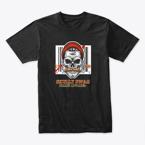 Skully Swag Hipster Skull With Bar Code Black T-Shirt Front