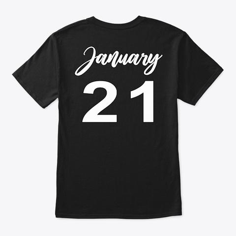 January 21   Aquarius Black T-Shirt Back