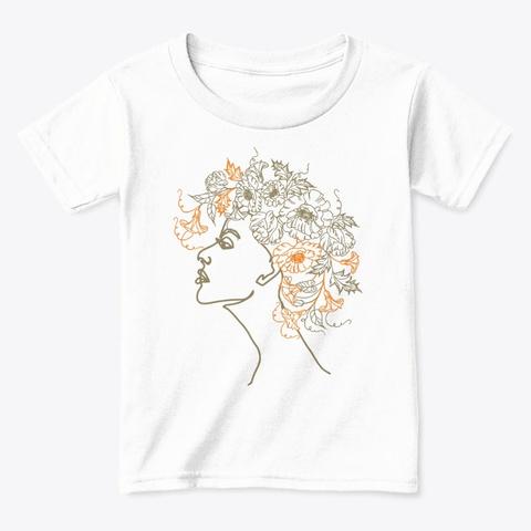 Flower Hair Line Art White  T-Shirt Front