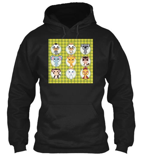 Animals Head Cartoon Frame Art Black T-Shirt Front